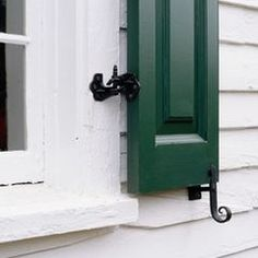 Hand Forged Exterior Shutter Hardware #shutters #windows #blinds #shades #shutterhardware Window Blinds & Shades, Blinds For Windows, Windows And Doors, Window Shutters Exterior, House Shutters, Window Protection, Shutter Hardware, Shed Decor, Hurricane Shutters