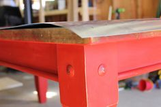 Topping a table with zinc sheet metal-hubby and I could totally do this!! Make a slapper out of wooden block and thrift-store leather belt?