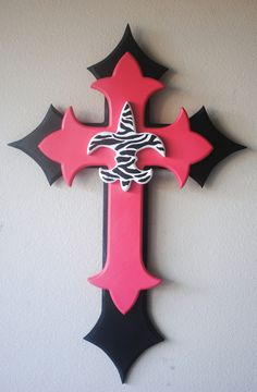 Large Hot Pink Black and Zebra print Wood Cross by crossthet, $25.00