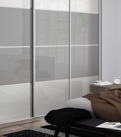 Classic: 4 panel Pure White / Light Grey glass doors with Silver frame White Sliding Wardrobe, Glass Wardrobe, Fitted Bedroom Furniture, Fitted Bedrooms, Bedroom Closet Doors, Wardrobe Design Bedroom, Bedroom Cupboard Designs, Bedroom Cupboards, Pure White