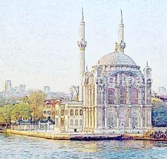 Istambul, Turquia... Acuarela de la mezquita Azul, vista desde el Bosforo