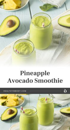 Looking for a healthy summer drink? Enjoy the tropical goodness of this refreshing pineapple and avocado smoothie, a great non-alcoholic alternative to Piña Colada. This easy vegan smoothie recipe will not only keep you cool during hot summer days but will also help boost your immune system.| Get this easy recipe at healthyinbody.com Vegan Smoothie Recipes, Yummy Smoothies, Dairy Free Recipes, Real Food Recipes, Nutella Smoothie, Coconut Milk Drink, Eating Pineapple, Avocado Smoothie, Pina Colada