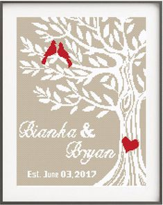 Wedding Cross Stitch Pattern Personalized Wedding gift Counted Pattern Embroidery Chart Love Birds Family Tree Cute, Easy Love Heart Alphabet No237 This cross stitch pattern is the perfect gift for newly married couple. This is a Do-It-Yourself Customizable pattern. It also includes a