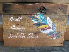 Rustic wood bird and feather dreams pallet by PolishedExpression, $55.00