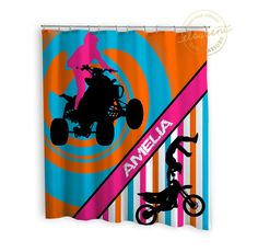Dirt Bike Shower Curtain - Girls ATV Sports Pink & Orange - Dirt Bike shower Curtains -  Motocross Personalized Polyester Fabric #274 by EloquentInnovations on Etsy