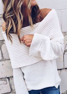 off shoulder cable knits