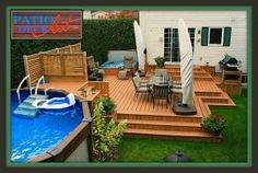 Bar de piscine hors terre en bois patio pinterest for Plan pour patio de piscine