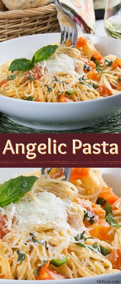 """With a name like """"Angelic Pasta,"""" you know this recipe's got to be heavenly!  We love recipes with angel hair pasta because they always cook up so quickly! This easy pasta dinner is one of our favorite go-to recipes when you're trying to cook something up in a cinch. Get ready for the shout of """"Hallelujah!"""" around the dinner table when friends and family see that Angelic Pasta is on the menu!"""