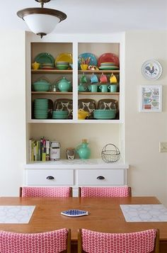 *open shelving for displaying color & pattern gives a room personality