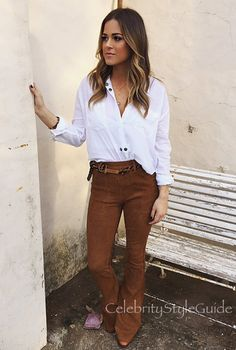 Jojo Fletcher and FRAME Le Flare de Francoise Suede Pants, . See the latest Jojo…