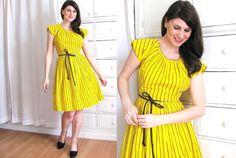 50s Swirl Dress / Yellow 50s Dress / 1950s Wrap Dress by Coldfish, $68.00
