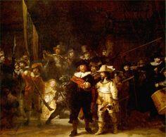렘브란트 [야간 순찰대]  렘브란트는 암스테르담 시민 수비대에서 그림을 주문받고 기존의 단체 초상화와는 다른 역동적인 그림을 그려내었다. 오랫동안 밤거리를 순찰하는 수비대의 모습으로 생각되었으나, 나중에 복원해보니 이 그림은 오후 햇살을 배경으로 그렸다는 점이 밝혀졌다. 램브란트의 생동감있는 동작과 그의 특유의 탁월한 빛의 활용에 있어서 뛰어난 네덜란드 대표 작품이다. 그런데 특이한 점은 렘브란트 자신을 찾을 수 있다는 점이다. 그림을 자세히 보아야 알 수 있지만 그림 가장 뒤에 매우 조그만 얼굴 하나가 보인다. 벙거지 모자를 눌러쓰고 모든 상황을 엿보고 있는 듯한 하나의 눈이 그의 호기심 가득한 성격을 대변한다. 작가 본인이 이 작품을 완성하면서 장난기 어린 아이와 같은 마음으로 킥킥거리며 작업했을 모습이 재미있다.