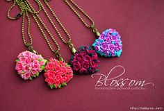 How to make rose flower pendent for valentines daypendent-1