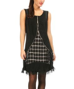 Black & White Windowpane Sleeveless Dress by L33 by Virginie&Moi #zulily #zulilyfinds