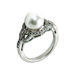 Pearl centered ring with CZ band. Sizes 6-9. Item #: r2320