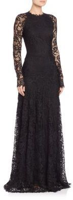 Ralph Lauren Collection Lorriane Long-Sleeve Lace Gown