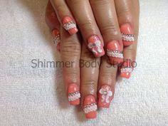 Gel nails, apricot nails, 3D nail art, lace, ruffles, bows, crystals nail art by Shimmer Body Studio.