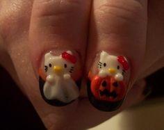 hello kitty halloween nails