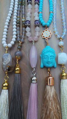 Gemstone tassel necklace. Pink tassel by AllAboutEveCreations