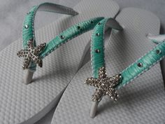 Tifanny Blue Bridal Flip Flops / Starfish by RossyAccesorios