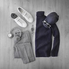 Simple statements.  Sweater/Trousers: @grayers Socks: @americantrench Wool/Silk Headphones: @beoplay H7 Cap: @varsityheadwear Wool Watch: @hamiltonwatch Seaview Auto Shoes: @commonprojects Achilles Low Sunglasses: @oliverpeoples Gregory Peck