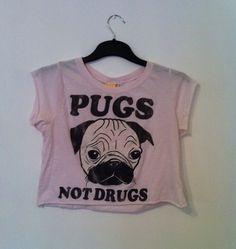 Pugs Not Drugs Topshop Crop Top Size S