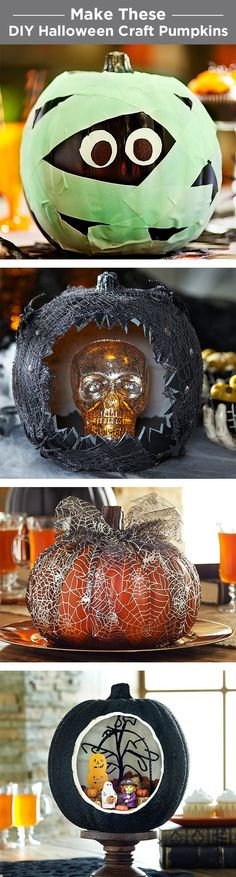 Make DIY craft pumpkins that last year after year. From a glow in the dark mummy to a mini diorama, there are tons of ways to decorate craft pumpkins.