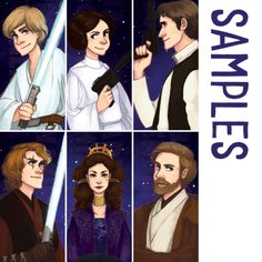 5 x 15cm bookmarks printed on 300gsm satin coated cardstock. Please select your choice of characters: • Luke • Leia • Han • Anakin • Padme • Obi-Wan
