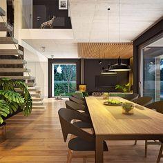 Modny III - dom parterowy z poddaszem użytkowym i garażem   doomo Barn House Plans, Architect House, Prefab Homes, Next At Home, Construction, House Design, How To Plan, Interior Design, Table