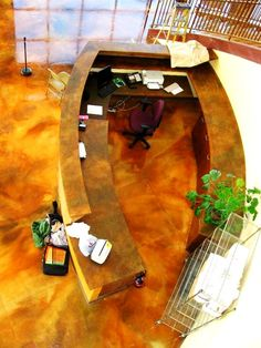 Birds-eye view of a glistening new countertop for a local business!