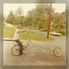 Kid on a badass Schwinn chopper - early Old Bicycle, Old Bikes, Bicycle Women, Bmx, Skateboard, Push Bikes, Chopper Bike, Roller, Cool Bicycles