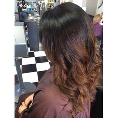 Ombre. Caramel and black. Hair by Jerika  Instagram / @hairbyjerika