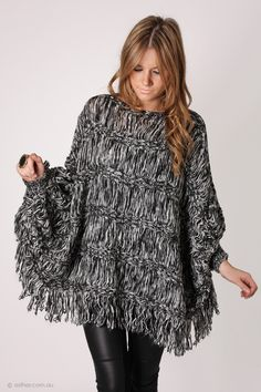 woven sweater poncho