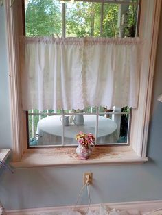 Cafe Curtains, White Curtains, Window Hanging, Hanging Plants, Yellow Placemats, Lace Curtain Panels, White Cafe, Vintage Curtains, White Wicker