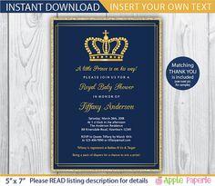 Royal Baby Shower Invitation, Little Prince Baby Shower,Blue And Gold Royal  Baby Shower   Digital File