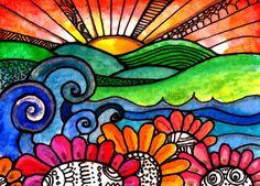 Over the River  flowers art print bird print art print sun floral garden painting tree flowers sunset