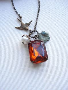 Bird Topaz Necklace, Orange Stone Necklace, Vintage Style Jewelry, Patina, Spring Jewelry, Gift For Her Under 50. $26.00, via Etsy.