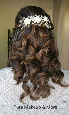 Half up Half down bridal wedding hair. By Pure Half Up Half Down, Airbrush Makeup, Wedding Hairstyles, Pure Products, Long Hair Styles, Bridal, Beauty, Long Hairstyle, Wedding Hair