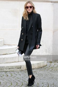 Olivia Palermo arrives at the Balmain show as part of the Paris Fashion Week Womenswear Fall/Winter 2016/2017 on March 3, 2016 in Paris, France.