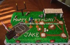 Sports Cake: My nephew was having a sport themed birthday party.  So he asked me to make a sports cake that would go with the theme.    I made a large rectangular cake