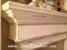 Do It Yourself Shelf (looks like a mantle for those without a fireplace). Note to self - no distressing