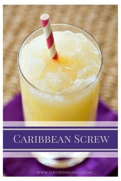 Caribbean Screw - banana liqueur, coconut rum, peach schnapps, milk, orange juice and pineapple juice! Non Alcoholic Drinks, Bar Drinks, Cocktail Drinks, Cocktail Recipes, Cold Drinks, Alcholic Drinks, Milk Shakes, Daiquiri, Refreshing Drinks