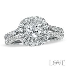 Vera Wang Love Collection 1-1/2 CT. T.W. Diamond Frame Split Shank Engagement Ring in 14K White Gold