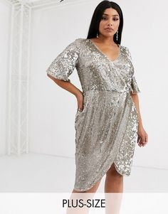 Browse online for the newest TFNC Plus sequin wrap front kimono midi dress in two tone sequin styles. Shop easier with ASOS' multiple payments and return options (Ts&Cs apply). Plus Size Cocktail Dresses, Plus Size Dresses, Metallic Jacket, Tfnc, Curvy Plus Size, Trendy Dresses, Women's Dresses, Wrap Style, Curvy Fashion