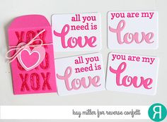 Valentine's Notes by Kay Miller. Reverse Confetti stamp sets: Big Notes and Lovey Word Coordinates. Confetti Cuts: Mini Envie, Lovey Words, Stamped Note and Thanks Tag. Mini Valentine's favors.