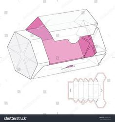 Hexagonal Dispenser Box With Die Cut Template Stock Vector Illustration 346357331 : Shutterstock - Regalos Packaging Dielines, Gift Packaging, Packaging Design, Diy Gift Box, Diy Box, Gift Boxes, Paper Box Template, Box Templates, Origami Templates