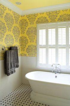 Fabric damask wall stencil bathroom. Yellow!  my fav!