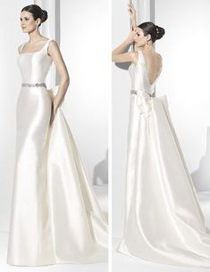Wedding dress line pencil in Shantung silk and tail decorated with bow. - Toy Olives - - Wedding dress line pencil in Shantung silk and tail decorated with bow. Beautiful Gowns, Beautiful Outfits, Bridal Dresses, Prom Dresses, Elegant Wedding Dress, Wedding Bride, Boho Wedding, Bridal Collection, Ball Gowns