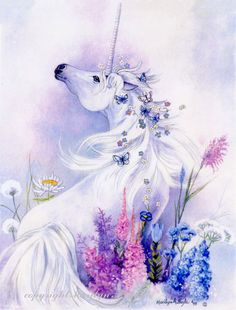 PRINT UNICORN  FANTASY butterflies flowers by OriginalSandMore