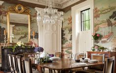 Beautiful traditional dining room with stunning mural in Charleston renovation SLC INTERIORS - Interior Design - Charleston, SC Dining Room Walls, Dining Room Design, Traditional Interior, Traditional House, Traditional Bathroom, Traditional Dining Rooms, Traditional Design, Luxury Interior Design, Interior Decorating